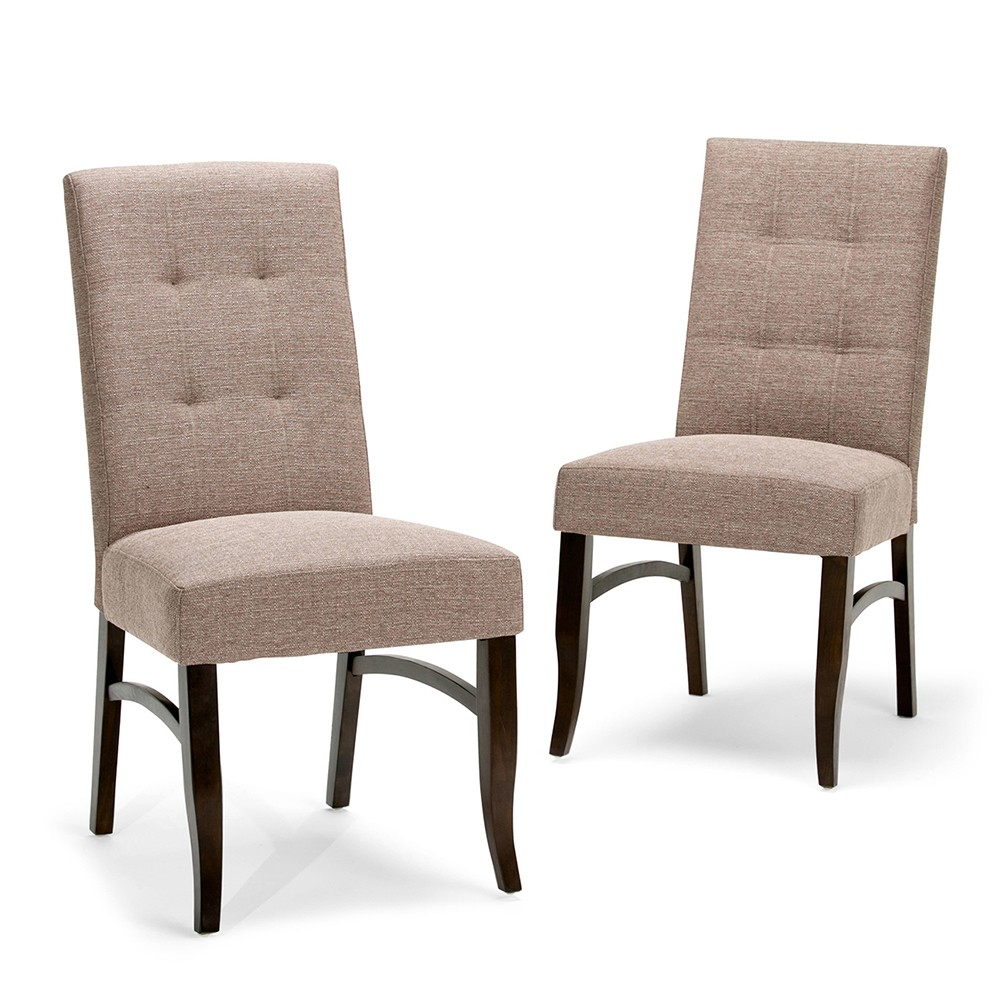 Hawthorne Deluxe Dining Chair Set of 2 Fawn Brown Linen Look Fabric - Wyndenhall