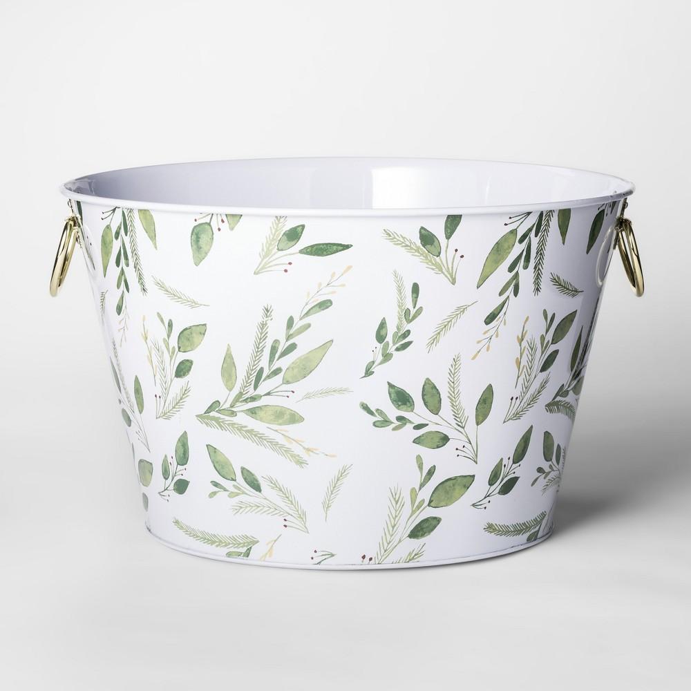 23.1L Metal Greenery Beverage Tub White/Green - Threshold