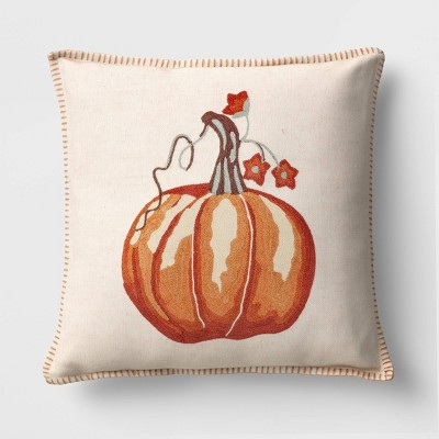 Square Embroidered Pumpkin Throw Pillow - Threshold™