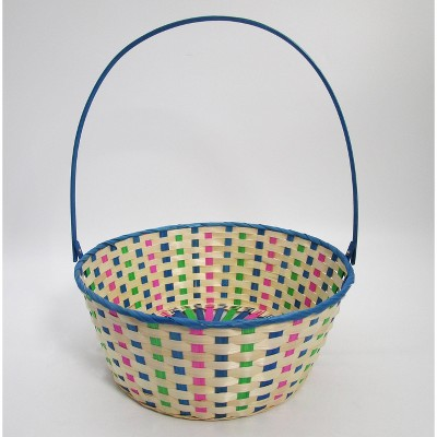 "15"" Bamboo Easter Basket Cool Colorway Blue with Pink Mix - Spritz™"