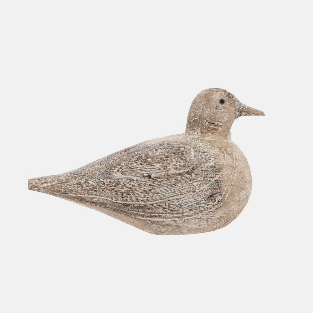 "Image of ""5"""" Wood Sitting Bird Gray L - Foreside Home & Garden"""