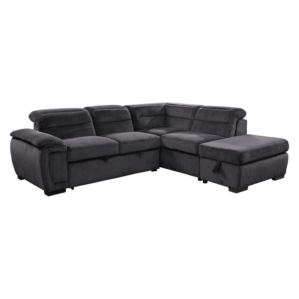 Iohomes Esterly Transitional Chenille Fabric Converting Sectional With Ottoman Dark Gray - Homes: Inside + Out