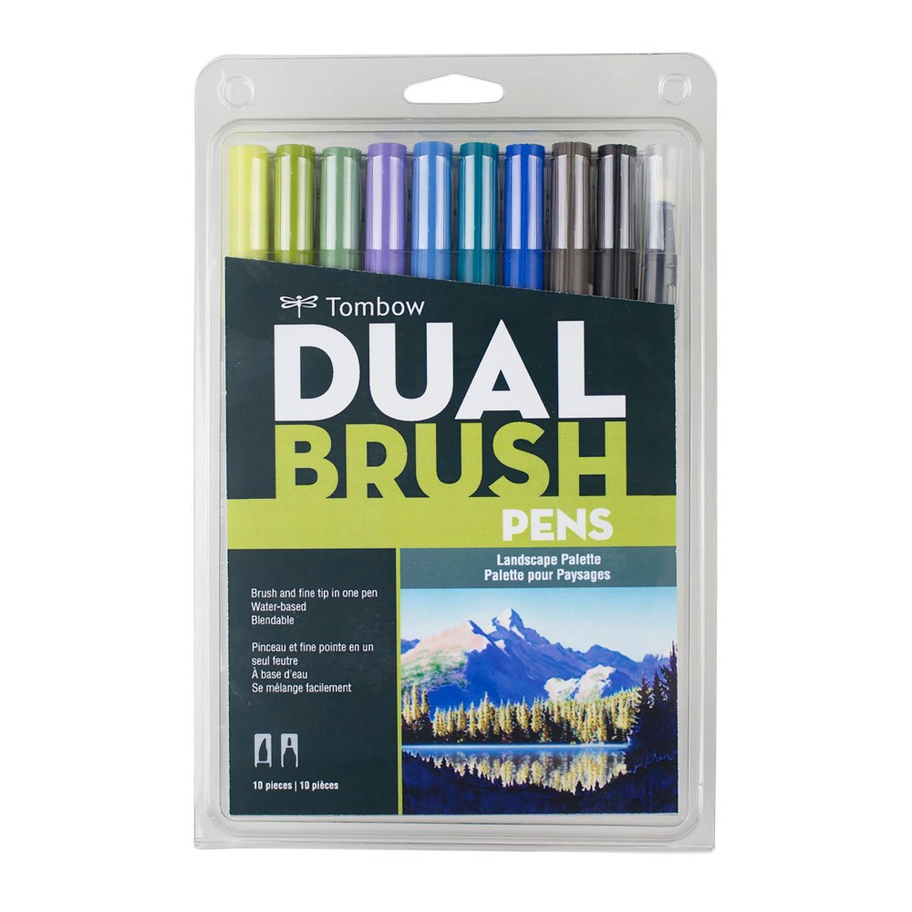 Image of 10ct Pen Set Dual Brush Landscape - Tombow, Gray Black Multicolored