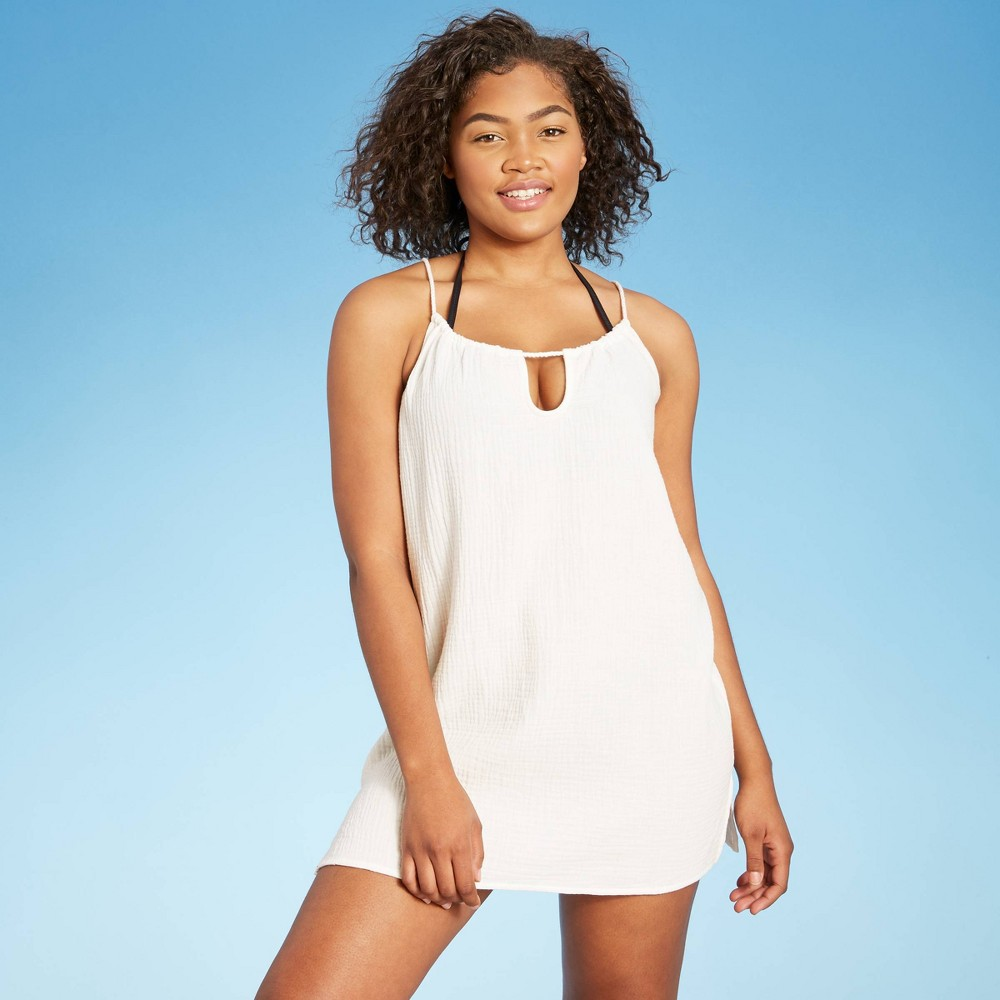 Women 39 S Tunneled Rope Strap Mini Cover Up Dress Shade 38 Shore 8482 White M