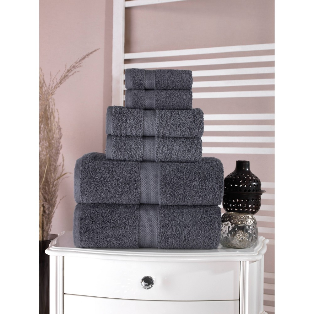 6pc Bomonti Turkish Bath Towel Set Black Enchante Home