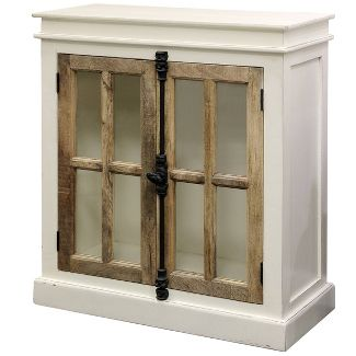 Tucker Cabinet with Clear Tempered Glass Window White/Natural - Stylecraft