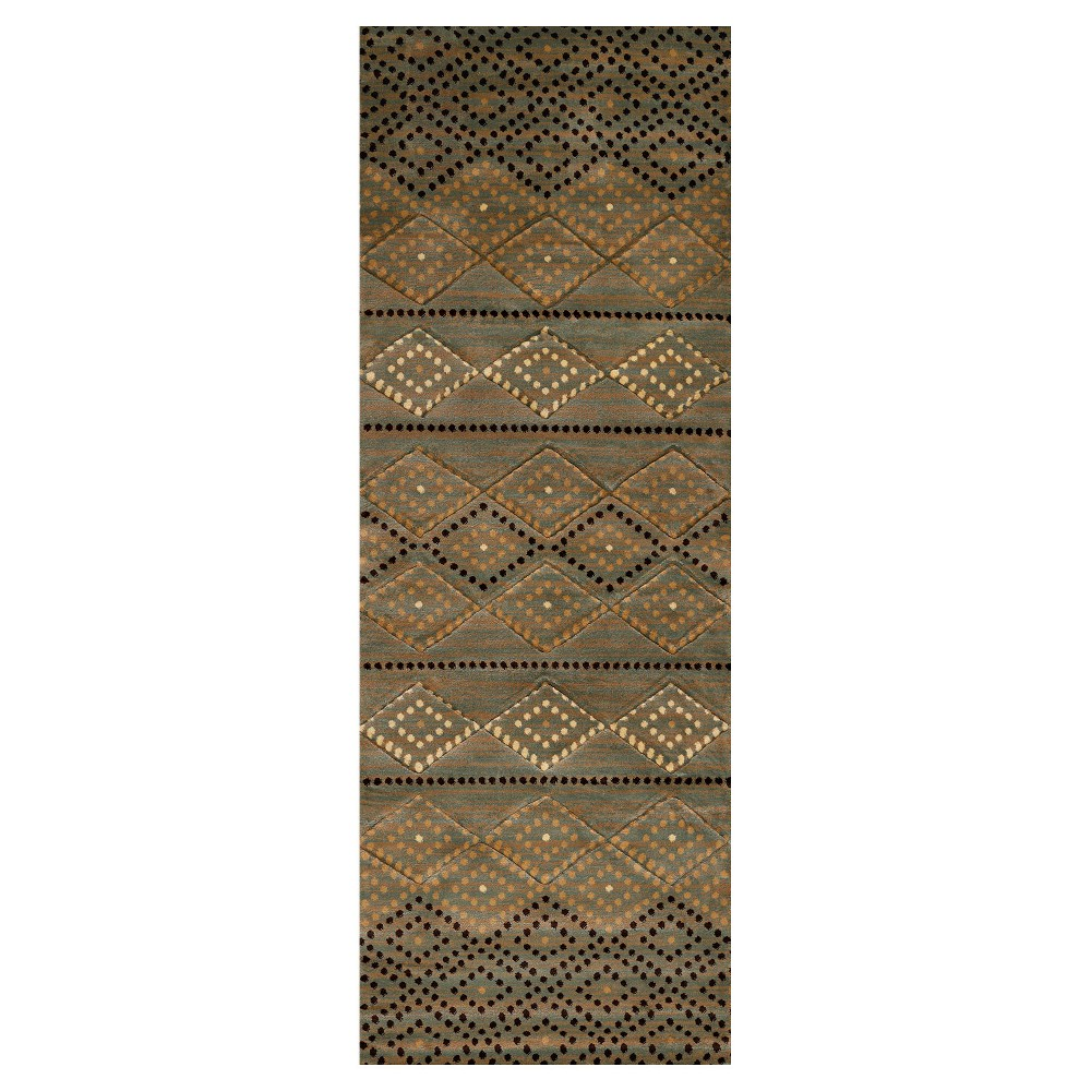 "Image of ""Blue Diamond Hooked Runner - (2'7""""x8') - United Weavers"""