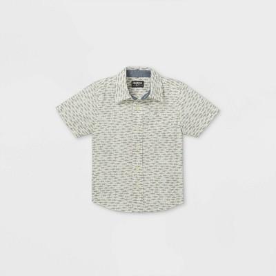 OshKosh B'gosh Toddler Boys' Fish Print Woven Short Sleeve Button-Down Shirt - Cream 18M