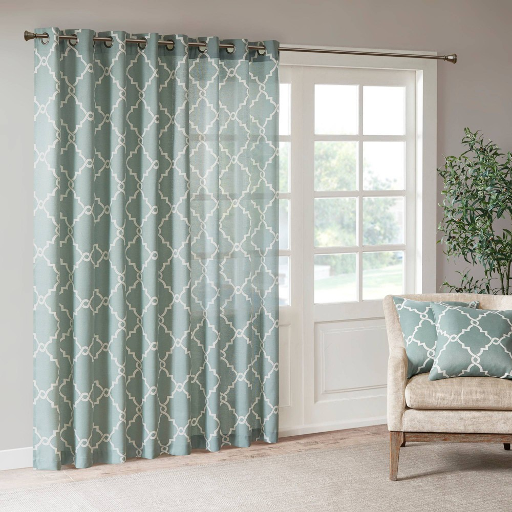 "Image of ""100""""x84"""" Sereno Fretwork Print Blackout Extra Wide Curtain Panel Seafoam"""