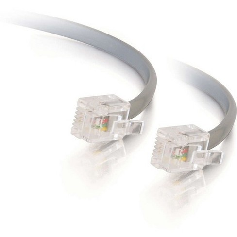 C2G 14ft RJ11 Modular Telephone Cable - RJ-11 Male - RJ-11 Male - 14ft - Silver - image 1 of 2
