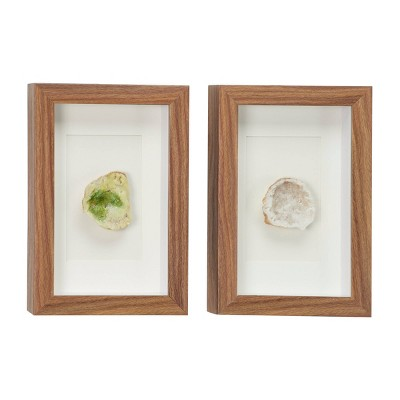 """(Set of 2) 8"""" x 12"""" Boho Style Crystal Geode Shadow Box Wall Decor in Rectangular Wood Frames Green and White - Olivia & May"""