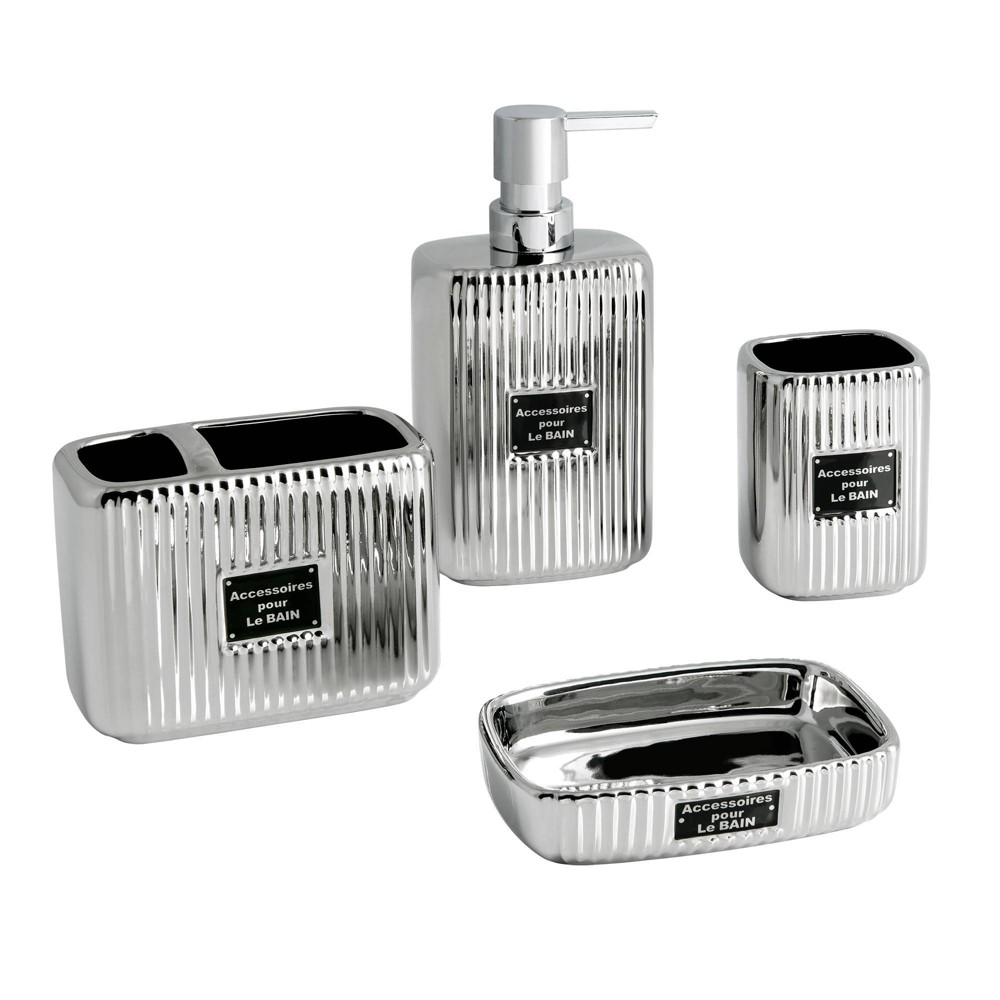 4pc Le Bain Lotion Pump Toothbrush Holder Tumbler Soap Dish Set Allure Home Creations