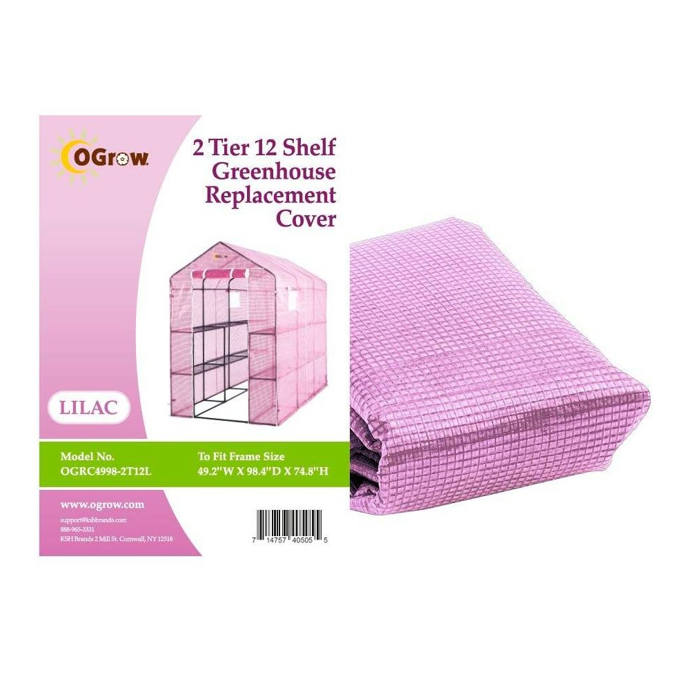 Image of 2 Tier 12 Shelf Greenhouse PE Replacement Cover Lilac - To Fit Ogrow Item OG4998-2Tl12