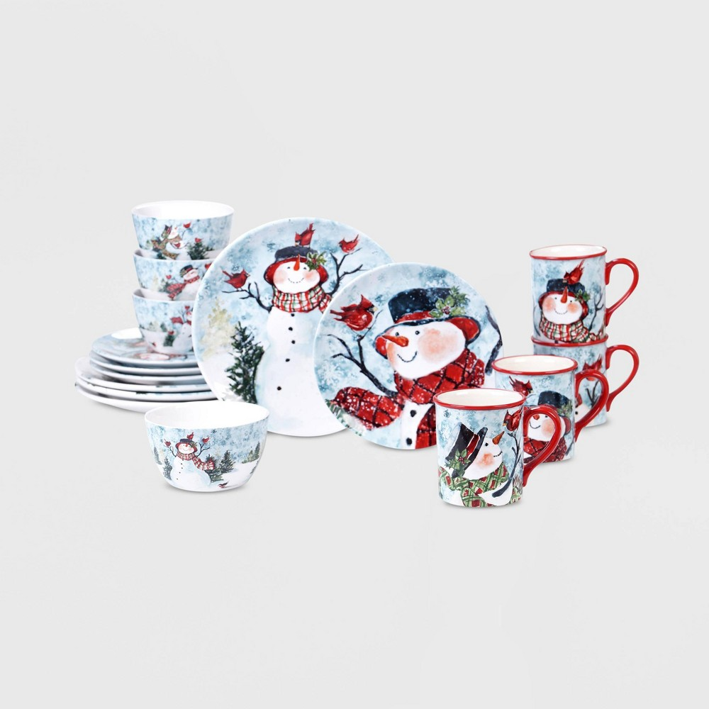 Image of 16pc Earthenware Watercolor Snowman Dinnerware Set - Certified International