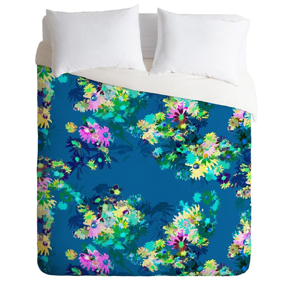 Full/Queen Floral Bel Lefosse Design Jardin Duvet Cover Set Blue - Deny Designs