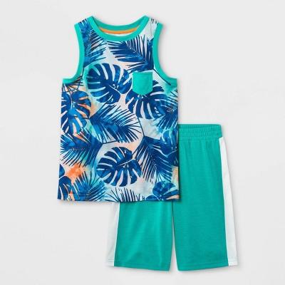 Boys' 2pc Leaf Print Tank Pajama Set - Cat & Jack™ Green