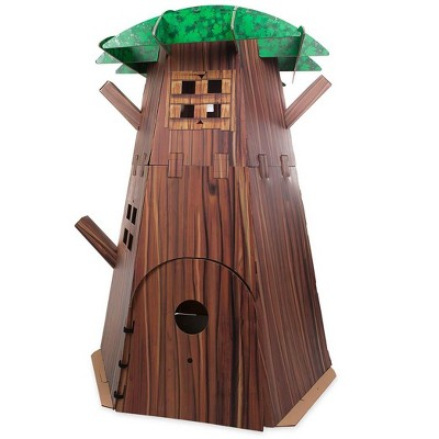 HearthSong Big Indoor Tree Fort Build-A-Fort Kit with Four Working Windows and Door