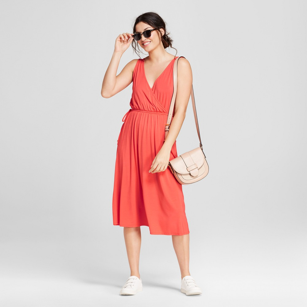 Women's Knit Wrap Dress - A New Day Coral (Pink) M