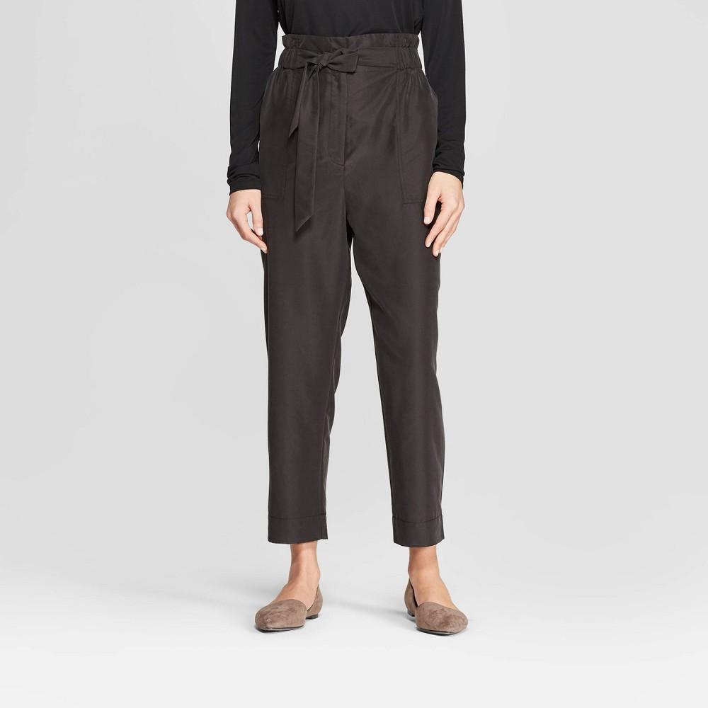 Women's Straight Leg Ankle Length Paperbag Waist Pants - Prologue Black M