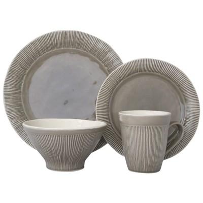 16pc Stoneware Chromatic Dinnerware Set Gray - Sango