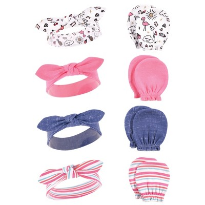 Hudson Baby Infant Girl Cotton Headband and Scratch Mitten Set, Doodle, 0-6 Months