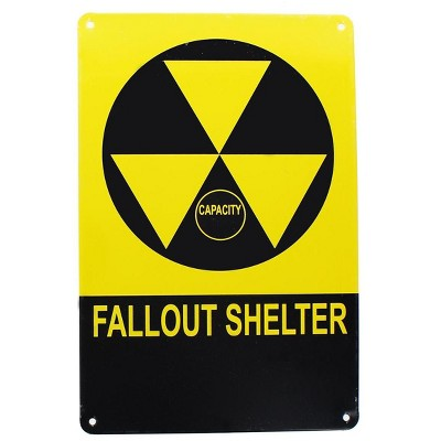 Toynk Vintage Fallout Shelter Metal Sign Replica, Nuclear Warning Sign, 6in X 9in