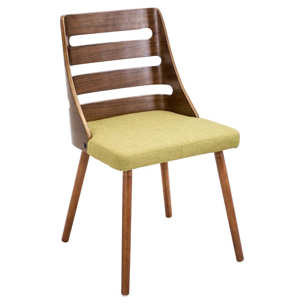 Trevi Mid Century Modern - Walnut Wood Chairs/Green Fabric - LumiSource