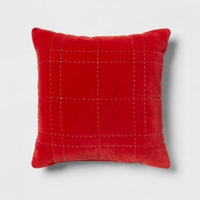 Metallic Quilted Velvet Square Throw Pillow - Threshold™