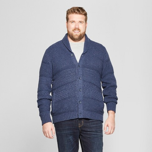 9b6583bd40 Men s Tall Long Sleeve Button-Down Shawl Cardigan - Goodfellow   Co™ Heather  Blue