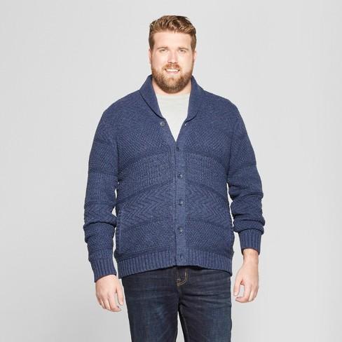 9b6583bd40 Men s Tall Long Sleeve Button-Down Shawl Cardigan - Goodfellow   Co™ Heather  Blue