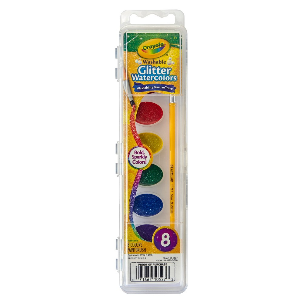 Crayola Glitter Watercolor Paints with Brush 8ct, Multi-Colored
