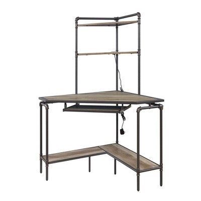 Wood and Metal Desk with 2 Shelf Hutch Brown/Gray - Benzara