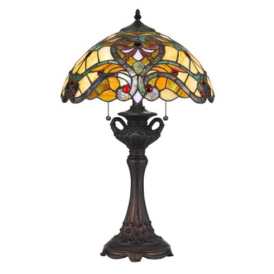 """25"""" Tiffany Resin Mission Design Table Lamp with Hand Cut Glass Shade Dark Bronze - Cal Lighting"""