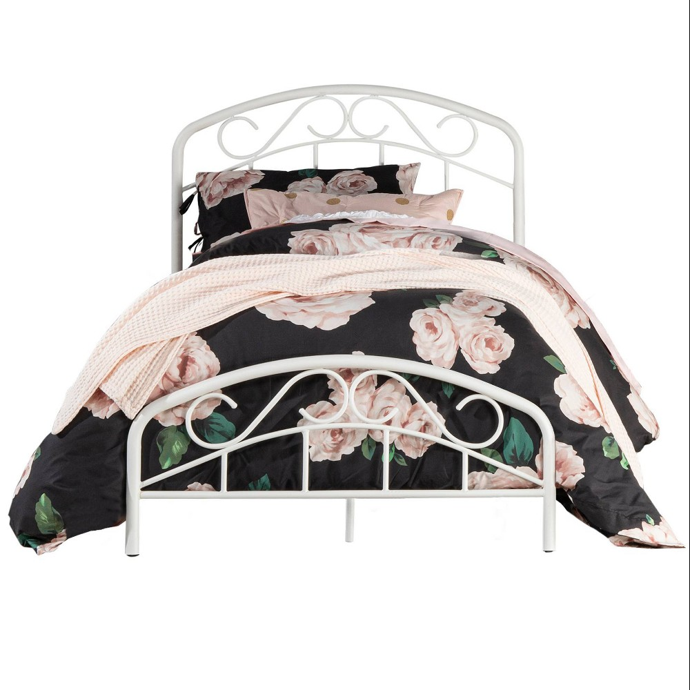 Twin Jolie Metal Bed With Arched Scroll Design White Hillsdale Furniture