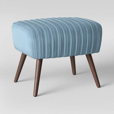 Laurel Ruched Ottoman with Cone Legs Velvet Light Blue - Opalhouse™