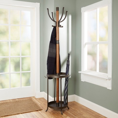 Dawson Wood And Metal Coat Rack With Umbrella Stand Brown
