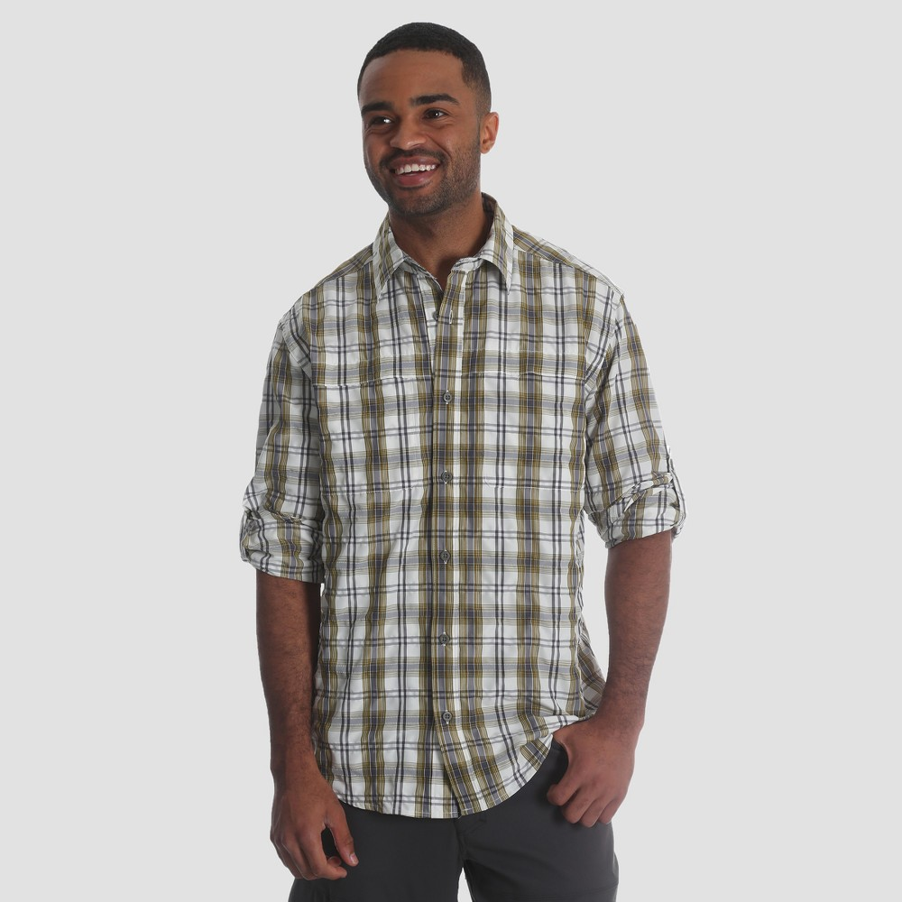 Wrangler Men's Outdoor Long Sleeve Eddie Shirt - Greystone/Moss Xxl, Graystone/Green