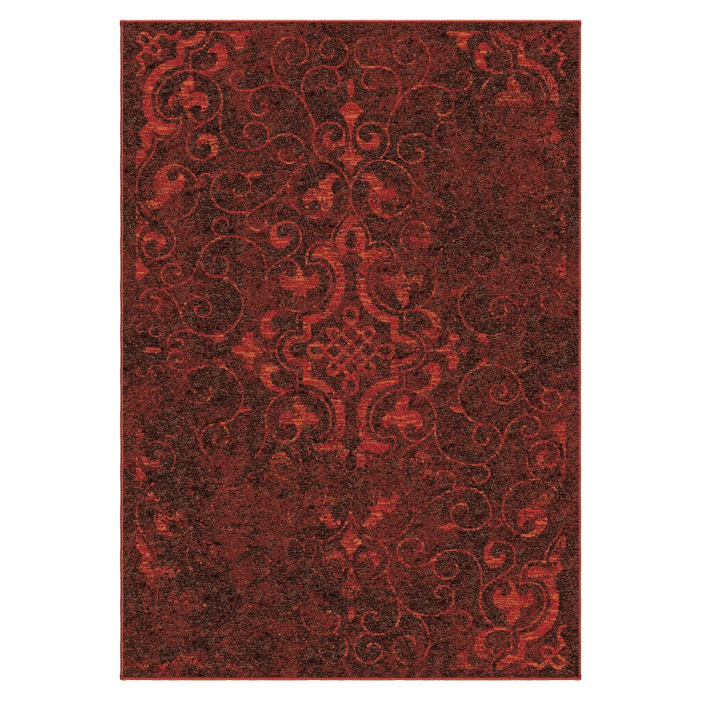 "Image of ""6'7""""X9'8"""" Damask Area Rug Red - Orian"""