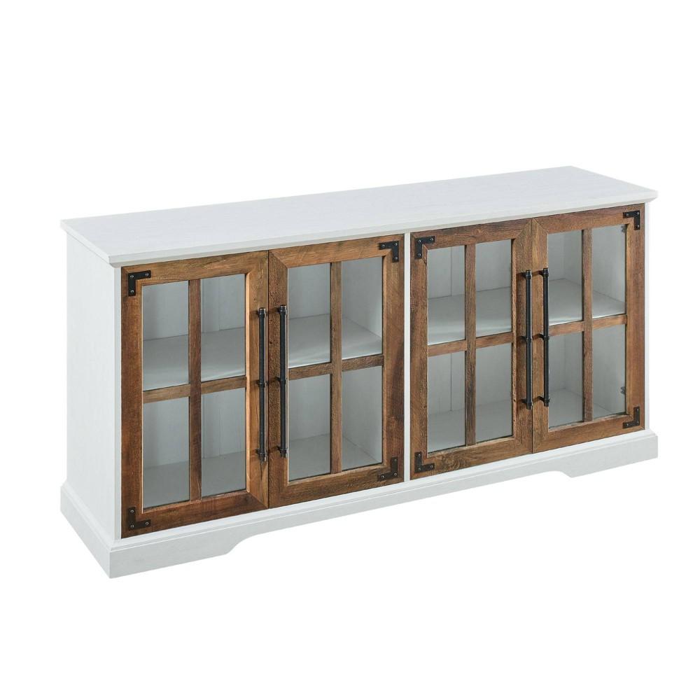 "Avalene Modern Farmhouse 4 Door Glass Window Pane TV Stand for TVs up to 65"" Brushed White/Reclaimed Barnwood - Saracina Home"