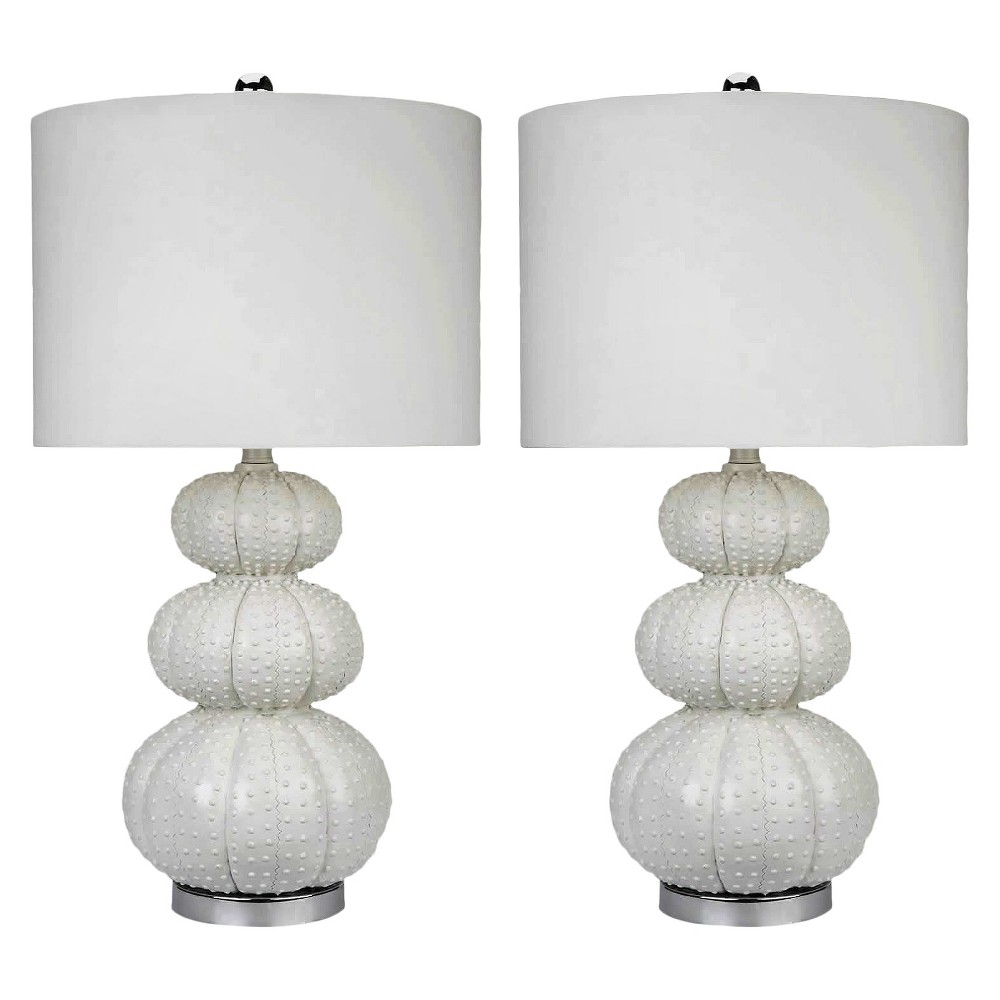 Morin Set of 2 Stacked Sea Urchin Table Lamp White - Abbyson Living (Lamp Only)