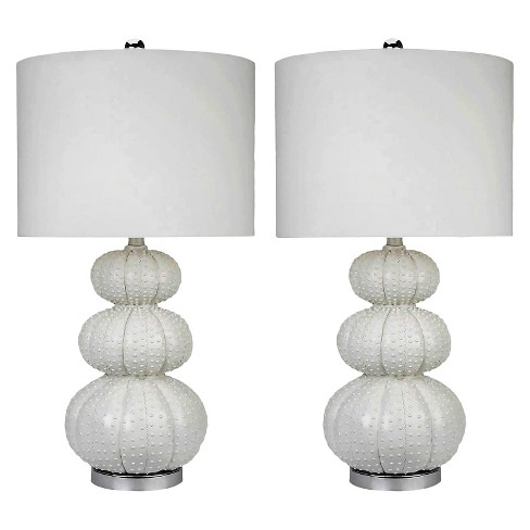 Abbyson Living Morin Stacked Sea Urchin Table Lamp (Set of 2) - White - image 1 of 2