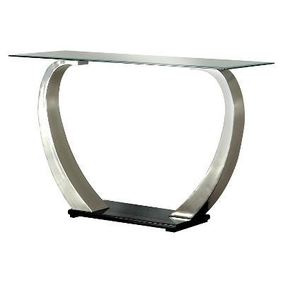 Sylvie Modern Curved Glass Top Sofa Table Silver/Black - HOMES: Inside + Out