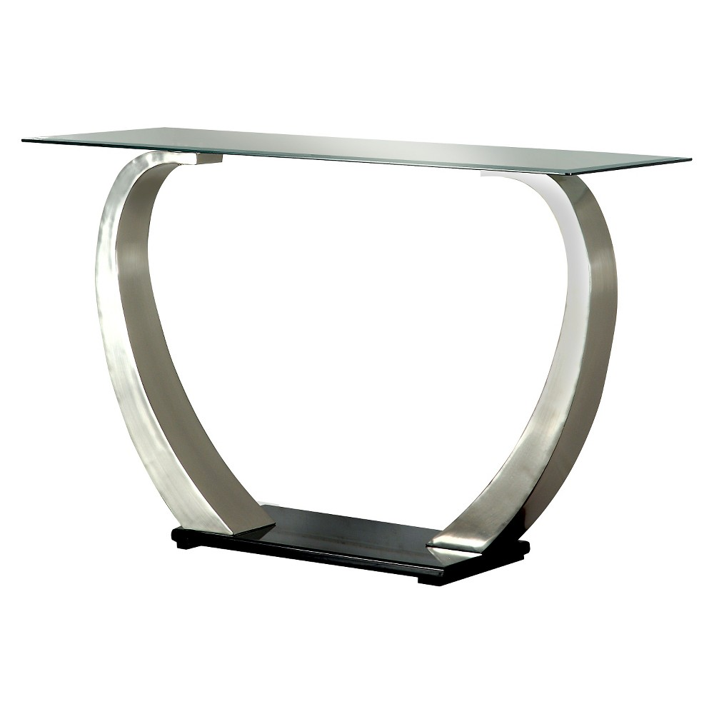 ioHomes Sylvie Modern Curved Glass Top Sofa Table Satin Plated, Shiny Silver