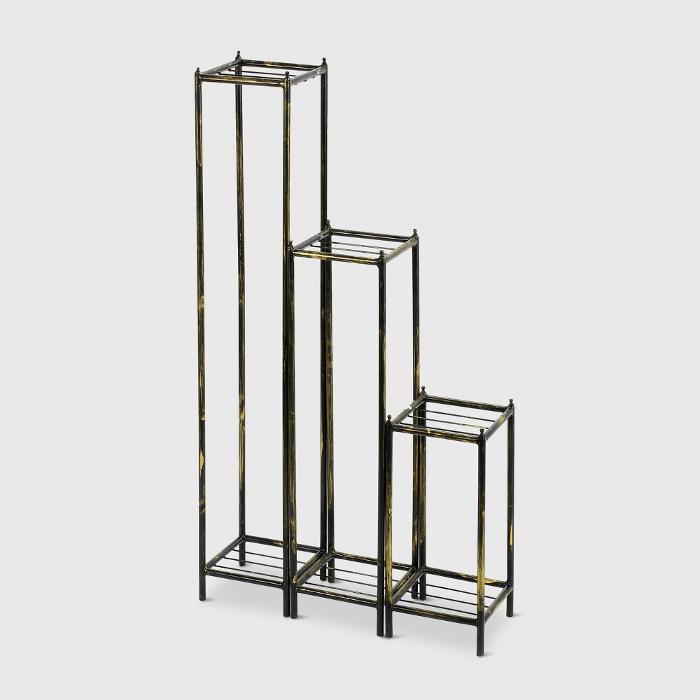 3pc Iron Square Plant Stands Black/Gold - Ore International