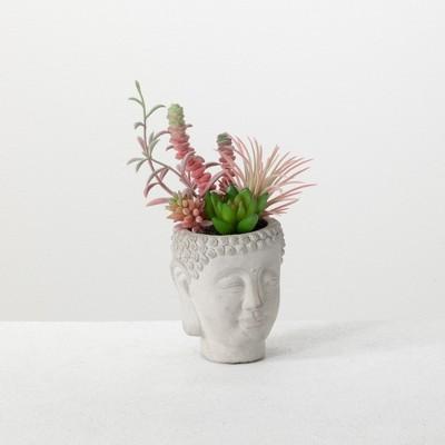Sullivans Artificial Succulent Buddha Planter