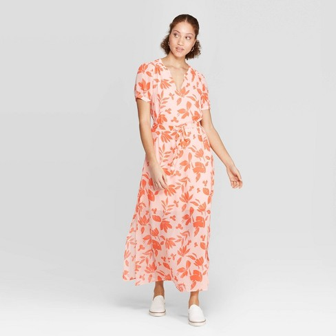 c49f0dfb62575 Women's Floral Print Casual Fit Short Sleeve Deep V-Neck Chiffon Maxi Dress  - A New Day™ Light Orange