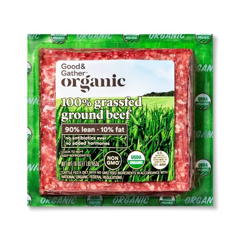 Organic 100% Grassfed 90/10 Ground Beef - 1lb - Good & Gather™ - image 1 of 2