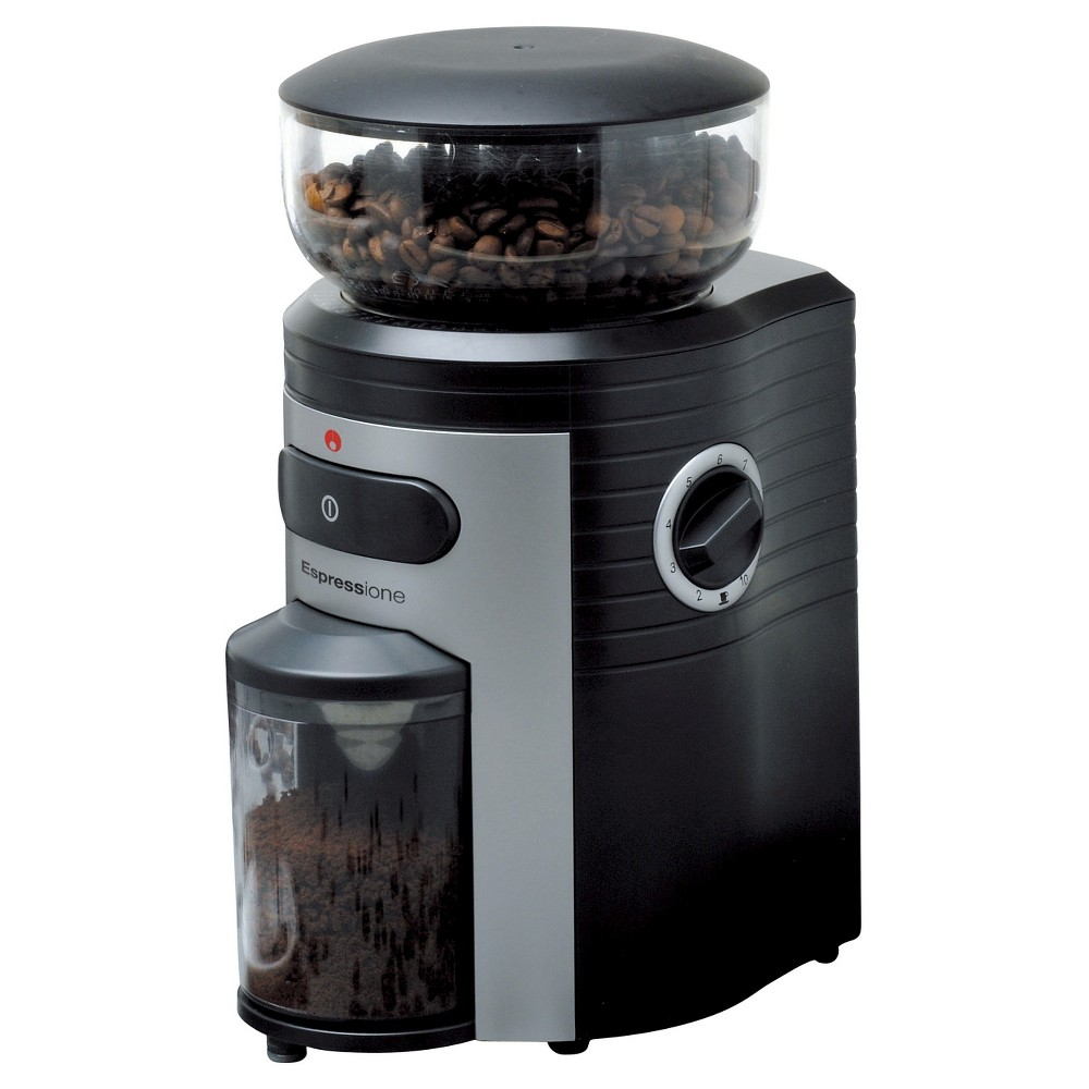 Espressione Conical Burr Coffee Grinder – Black with Silver, Black And Silver 13763892