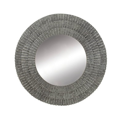 """37"""" Modern Round Iron Framed Wall Mirror with Corrugated Design Gray - Olivia & May"""