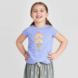 Toddler Girls' Short Sleeve Glitter Ice Cream Graphic T-Shirt - Cat & Jack™ Blue